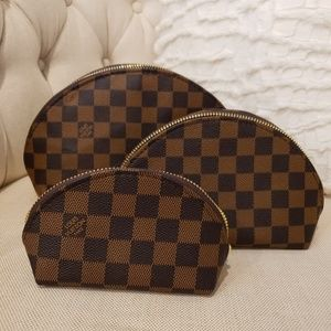 Handbags - Checkered cosmetic pouch 3 piece set